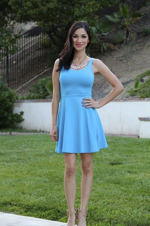 blue Express dress - francescas necklace - white sandal Zara heels