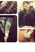 earrings - shoes - blazer - scarf - cardigan - pants