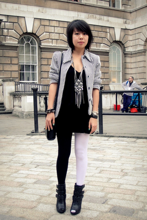 black Aldo shoes - black asos dress - gray vintage blazer