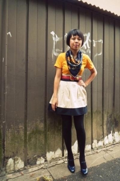 H&M shirt - vintage scarf - Primark skirt - Dorothy Perkins shoes - vintage belt