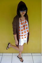 brown Details cardigan - white Cool Girl top - white Orange skirt - brown the fl
