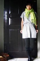 green scarf - gray Magnolia top - gray Bianca Maria stockings - gray sox gallery