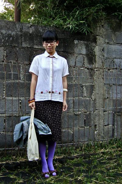 black unbranded glasses - beige Express shirt - brown unbranded skirt - purple B