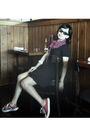 Black-glasses-pink-orange-scarf-black-theoryx-dress-red-converse-shoes-b