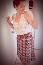 Goodwill skirt - gold Pandora bracelet - ivory Aritzia top - gold Fossil watch