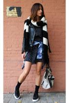 leather Zara jacket - sexy H&M dress - leather Yves Saint Laurent bag