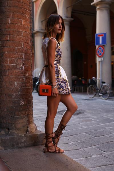blue jaquard silk Sheinside dress - carrot orange rectangle H&M bag