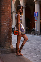 blue jaquard silk Sheinside dress - carrot orange rectangle H&M bag