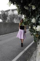 cotton Zara skirt - leather Celine bag - cotton H&M bodysuit
