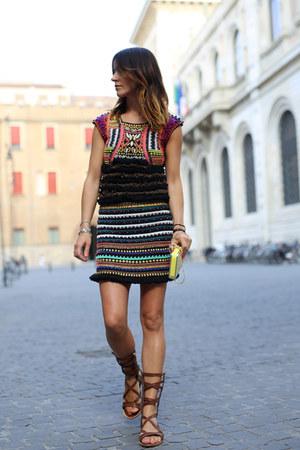 wool cotton Pinko dress - leather Pinko purse - Pinko accessories