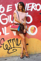 Stripes and Suede Skirt