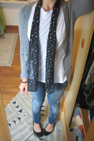 black scarf - shoes - blue jeans - gray cardigan - white t-shirt