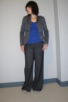 violet naturalizer shoes - gray espirit blazer - deep purple H&M top - dark gray
