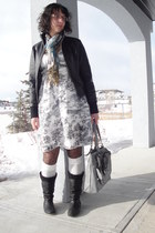 black leather Shelleys boots - white Sisley dress - black leather Tex by Max Azr