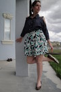Navy-denim-bcbg-shirt-aquamarine-print-bcbg-skirt-brown-tiger-stripe-via-uno