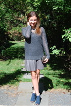 gray grey Frenchi sweater - navy cut out Louise et Cie boots
