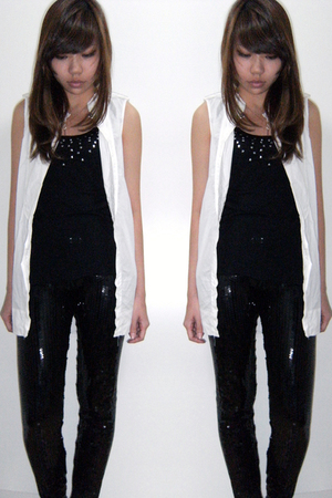 black VANESSA BRUNO t-shirt - black Dress Like Me leggings - white Zara shirt