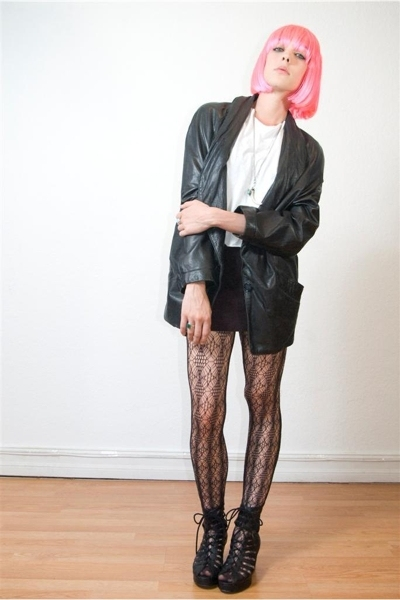 vintage leather slouch jacket - hanes cut up tee - aa mini skirt - calvin klein 