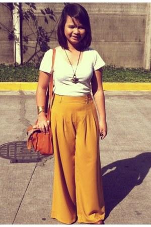 mustard pants - white bench shirt