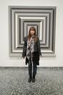 Black-forever-21-jacket-black-kohls-sweater-gray-h-m-scarf-blue-lc-lauren-