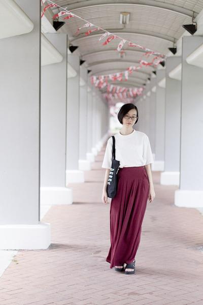 white white shein blouse - crimson chiffon Zalia pants