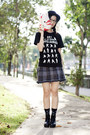Black-naruto-uniqlo-shirt-black-floral-taobao-socks-navy-plaid-zara-skirt