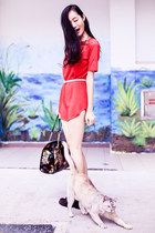 red tunic DealSale dress - brick red cut out Jeffrey Campbell boots