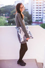 Gray-tunic-zara-dress-navy-oxfords-taobao-heels