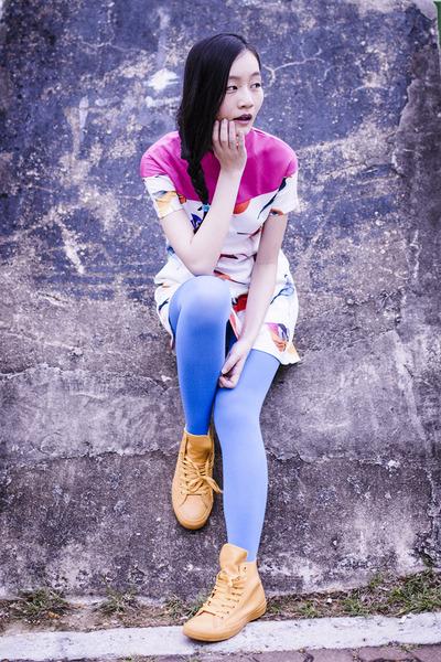 bubble gum bird asos dress - blue blue We Love Colors tights
