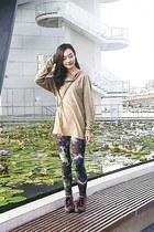 camel menswear 21MEN shirt - black abstract H&M leggings