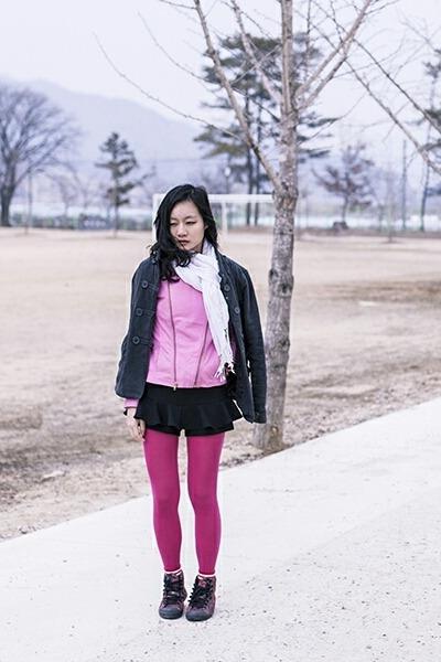 bubble gum leather Viparo jacket