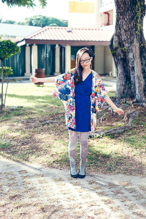 blue floral DressLink dress - periwinkle printed Urban Outfitters tights