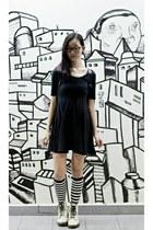 black open back lbd Forever 21 dress - white 1460 8eye Dr Martens boots