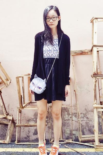 cat face purse Taobao bag - black lightning print Robot Ninja dress