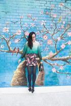 black floral Forever 21 skirt - green ombre romwe blouse
