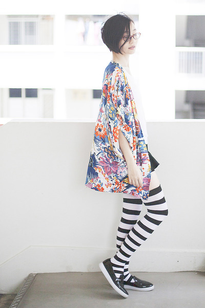black black Zalora shoes - white thigh high We Love Colors socks