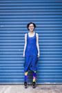 Black-black-zalora-shoes-blue-midi-zalora-dress