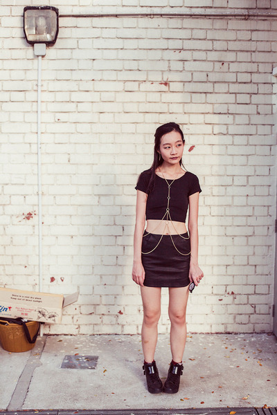 black Topshop skirt - black crop DressLink top