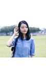 Light-blue-denim-uniqlo-dress-black-geometric-t-shirt-jeans-bag