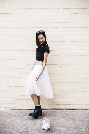 black crop top DressLink top - white tulle skirt - silver chiffon cardigan