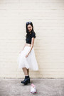 Black-crop-top-dresslink-top-white-tulle-skirt-silver-chiffon-cardigan