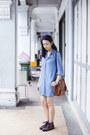 Sky-blue-uniqlo-dress-bubble-gum-striped-accessorize-socks