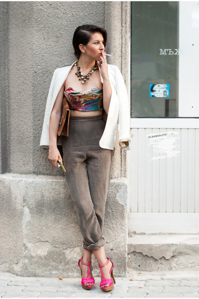 Zara shoes - charcoal gray Mango coat - Krizia pants