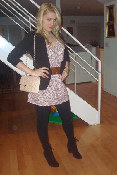 Charlotte Russe blazer - Forever 21 dress - Forever 21 belt - dco boots - Americ