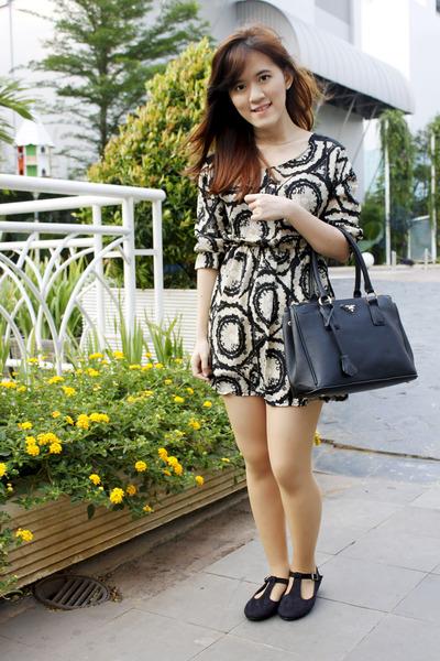 black Prada bag - black dress