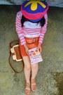 Purple-colorful-beret-hat-bronze-retro-bag-carrot-orange-skirt