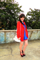 red Zara coat - white Guess bag - red Topshop shorts - blue local brand blouse