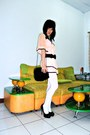 Black-faux-fur-zara-bag-light-pink-mini-kintted-hongkong-boutique-dress