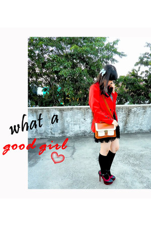 red Marc by Marc Jacobs coat - mustard gogisawa bag - white Forever 21 top