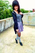 black yellowline cardigan - black boots - dark gray Forever 21 tights